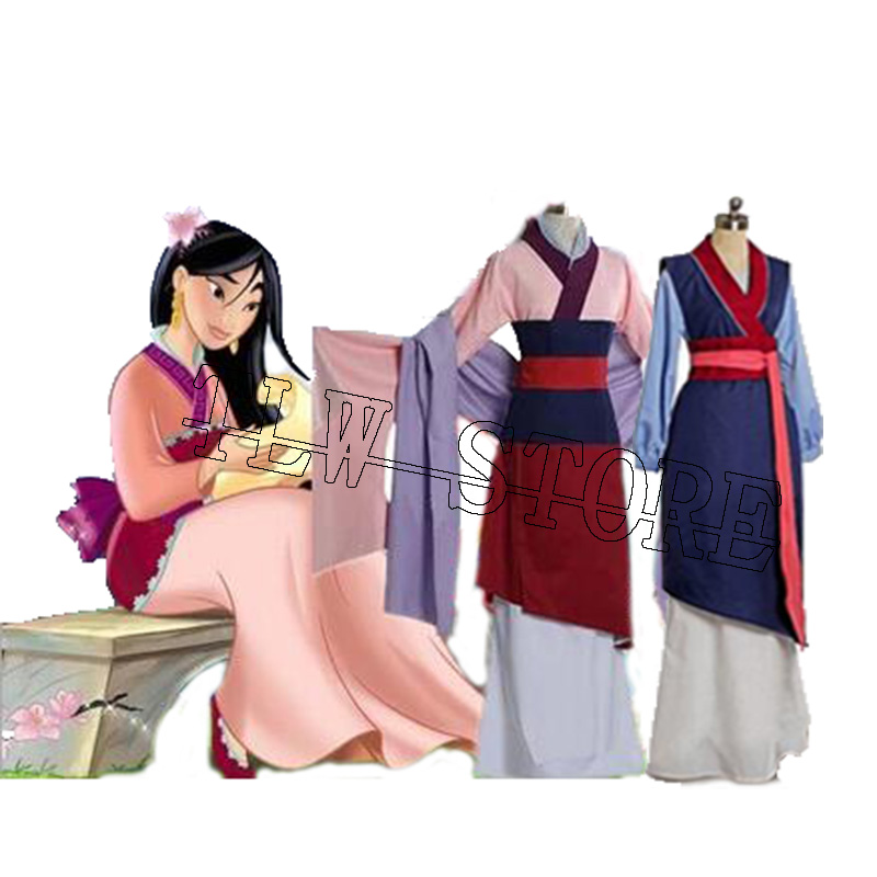 Custom Made !!! Hua Mulan Blue Red Dress Princess Dress Movie Cosplay Costume Adults kids Mulan Costumes 2xs-3xl