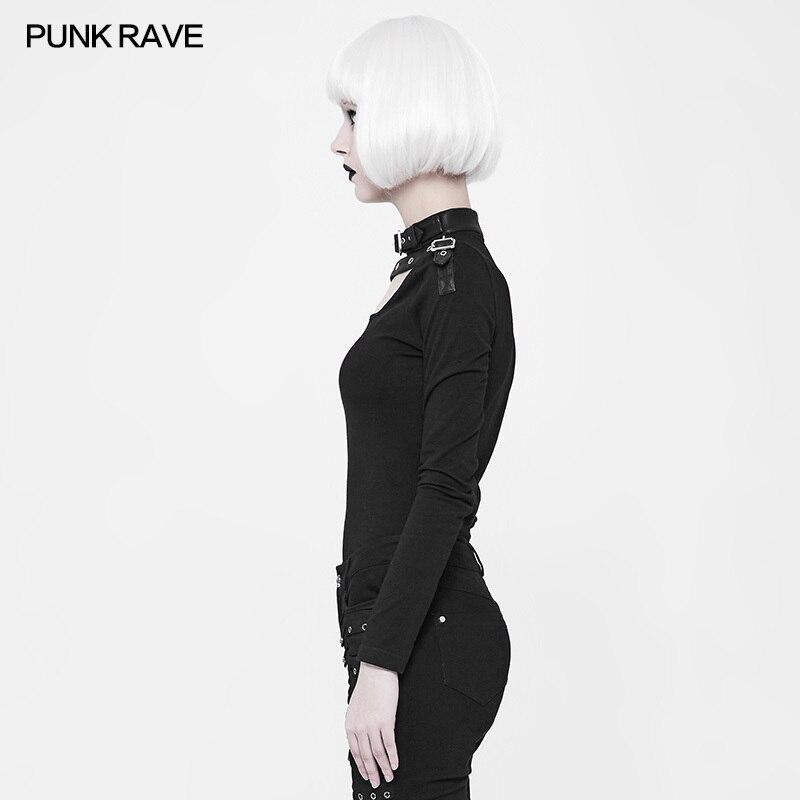 Mode élastique Slim-ajustement épaule avec fermeture à glissière en métal à manches longues T shirt gothique noir femmes T-shirt PUNK RAVE WT-518TCF - 3