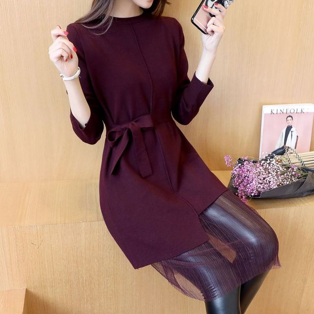 4374-2016 Corea otoño nuevo cordón del dobladillo de la camisa 63