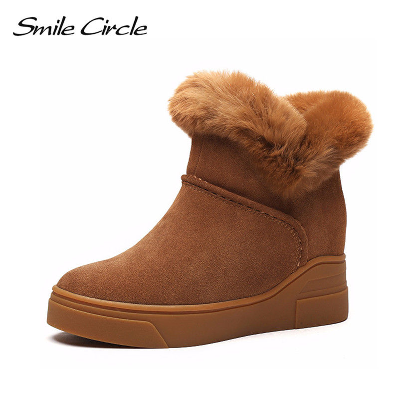 Smile Circle Winter Boots Suede Genuine Leather Snow Boots Women Waterproof Fur Warm Platform Wedges Shoes Fashion Ankle Boots
