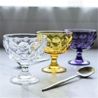 KINGLANG INS Round Embossed Glass Ice Cream Goblet Water Cup Cold Drink Dessert Bowl Salad Bowl