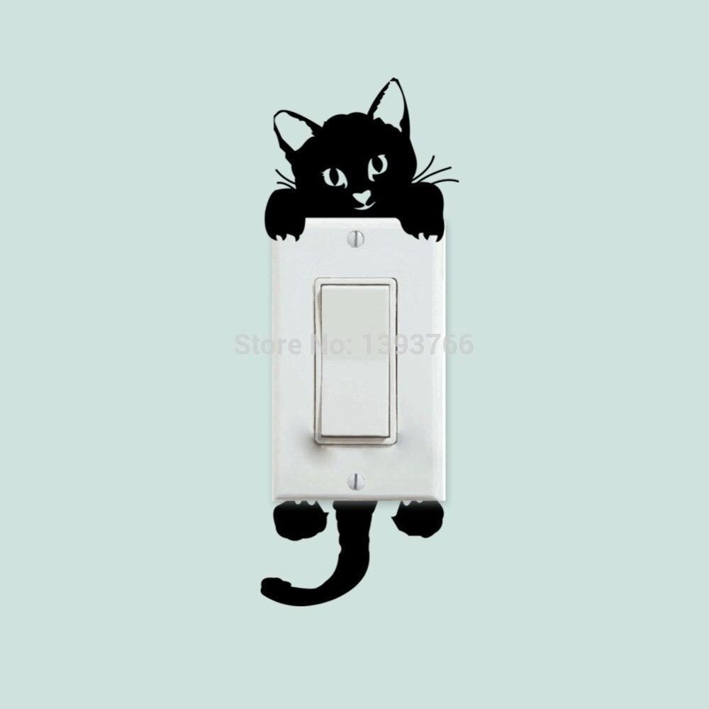 Bricolaje gatito gracioso y mono pegatinas perro interruptor pegatinas de pared decoración del hogar Decoración de salón y dormitorio