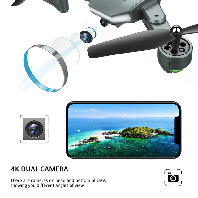 Visuo XS816 RC Drone with 50 Times Zoom WiFi 4K Dual Camera Optical Flow Quadcopter Foldable Selfie Drone 1