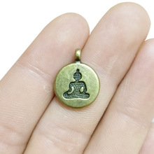 TJP 20pcs Antique Bronze Lotus Yoga Meditation Position Round Charms Pendants Beads for DIY Jewelry Making Findings 19x15mm