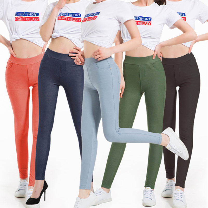 Plus Size Women Leggings 5XL Faux Denim Jeans Jeggings Candy Colors Legging Large Black Stretch Skinny Pencil Pants Trousers