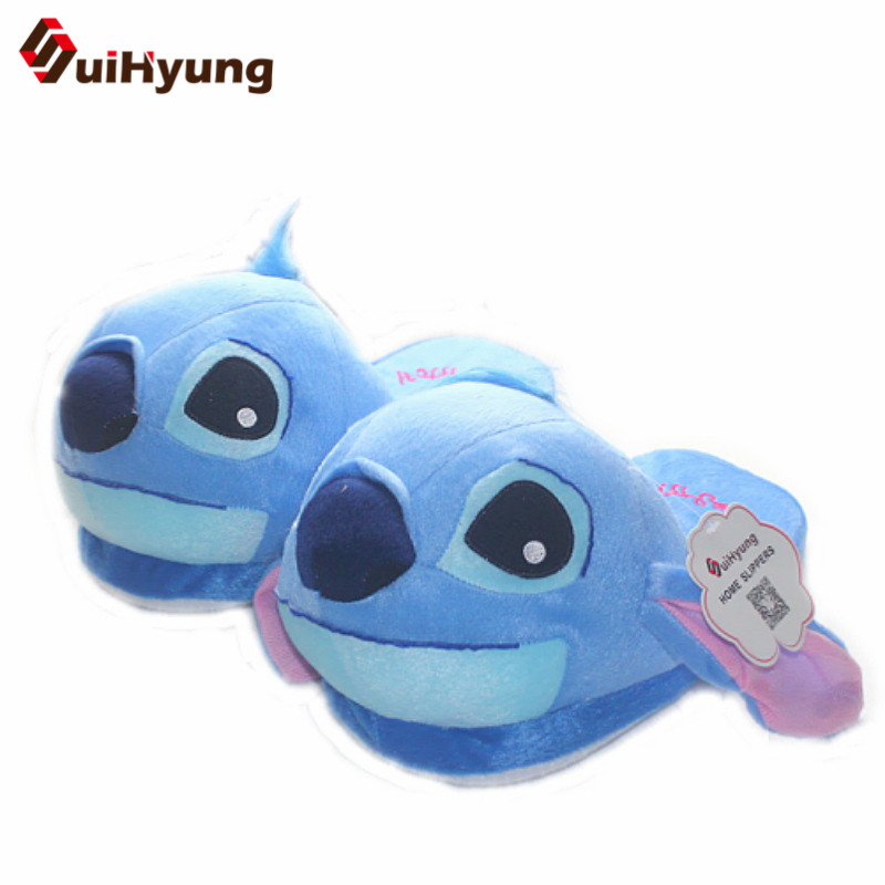 Suihyung Winter New Women's Cartoon Cotton Slippers Cute Stitch Indoor Shoes Plush Warm Soft Bottom Non-slip Home Floor Slippers tolaitoe autumn winter animals fox household slippers soft soles floor with indoor slippers plush home slippers