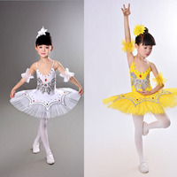 Children Ballet Girl Gymnastics Tights Pants Ballet Dancing Skirt White Swan Lake Clothing Ballet Dancer Dress
