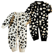 Baby sweater coat 2018new style baby crawling clothes children's clothing children's sweater cotton leopard newborn baby onesies