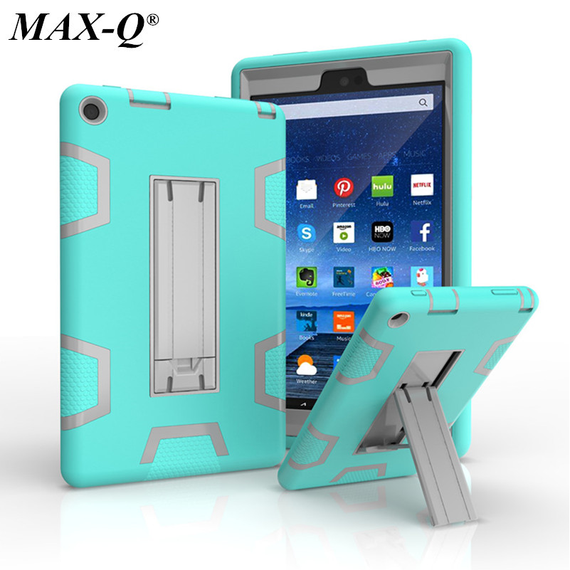 NEW For Amazon Kindle Fire HD 8 2016 Case Kids Safe Armor Shockproof Heavy Duty Silicone PC Tablet Stand Case Cove 8.0