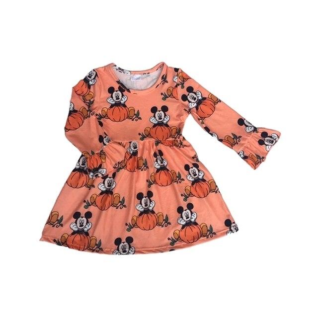 Fall/Winter Girls Boutique Clothes Orange Pumpkin Mickey Print Dress Children Girls Long Ruffle Sleeve Halloween Cartoon Dresses