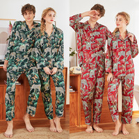 Top Grade Print Leopard Satin Silk Pajamas Sets Couple Sleepwear Summer Pijama Lovers Night Suit Men Women Casual Home Clothing