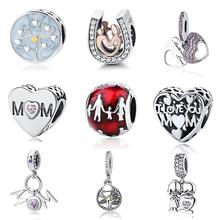 7aa6dbde4 Authentic 925 Sterling Silver Charm Bead Family Love Heart Pendants Fit  Original Pandora Bracelet Charms DIY