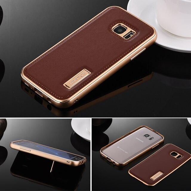 imágenes para Original de la Marca Genuina de Cuero Caso de La Contraportada Para Samsung Galaxy S7/S7 Borde Protector Duro de Parachoques Del Metal de Aluminio Del Teléfono casos