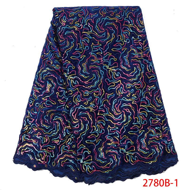 Royal Blue African Velvet Lace Fabric 2019 High Quality French Lace Fabric Nigerian Laces With Sequins For Party Dress KS2780B-1