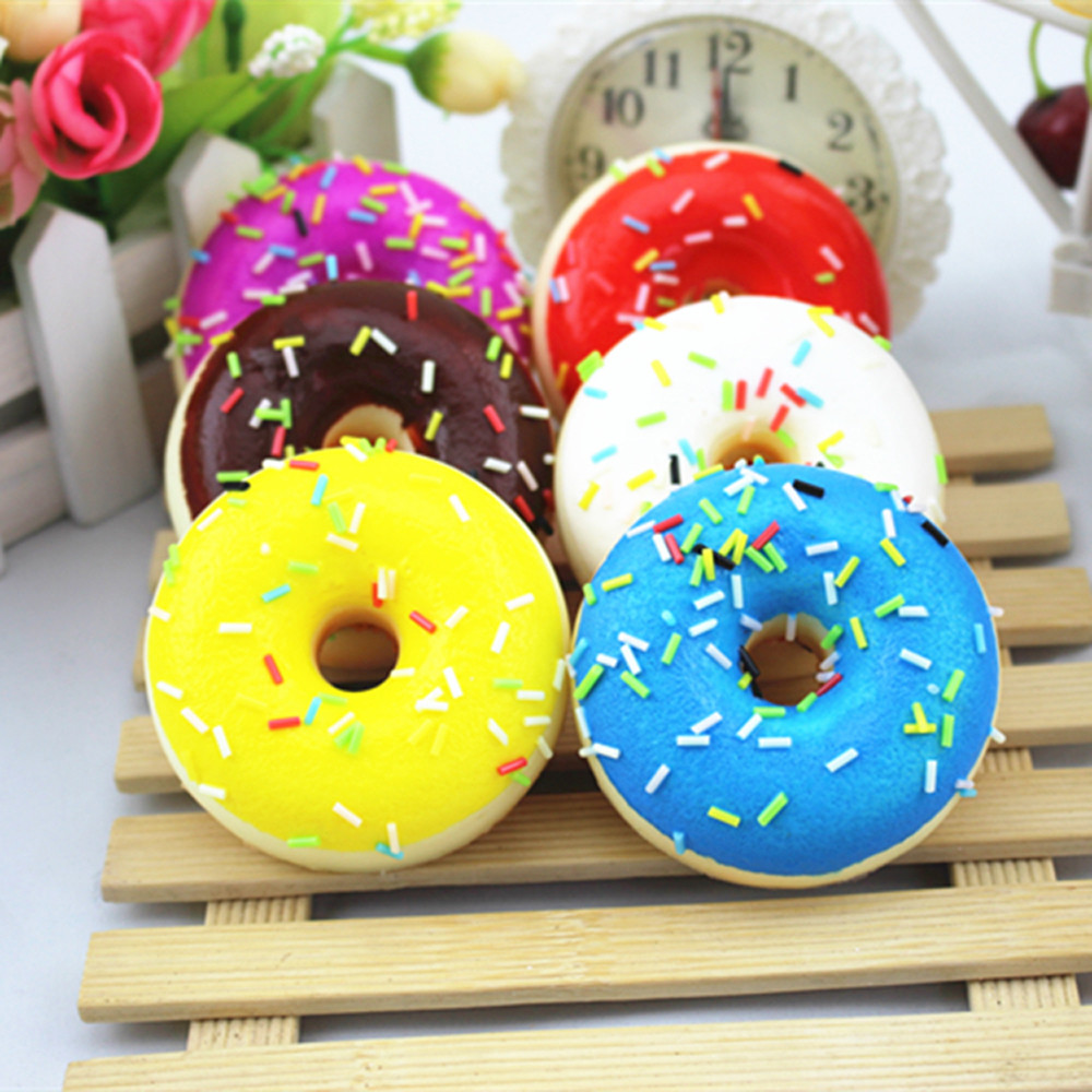 Fashion baby boy toys Squishy Squeeze Stress Reliever Soft Colourful Doughnut Scented Slow Rising Toys radom color
