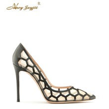 Nancyjayjii Women Pointed Toe Mesh Lace Transparent High Heels Pumps Fashion Handmade Woman Dress&Party&Weddibf ,Shoes 4-16