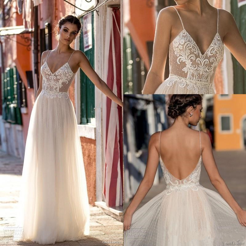 2020 Sexy Gali Karten Garden Beach Wedding Dresses Sleeveless Spaghetti Straps Robe De Soiree Backless Long Boho Brdial Gowns
