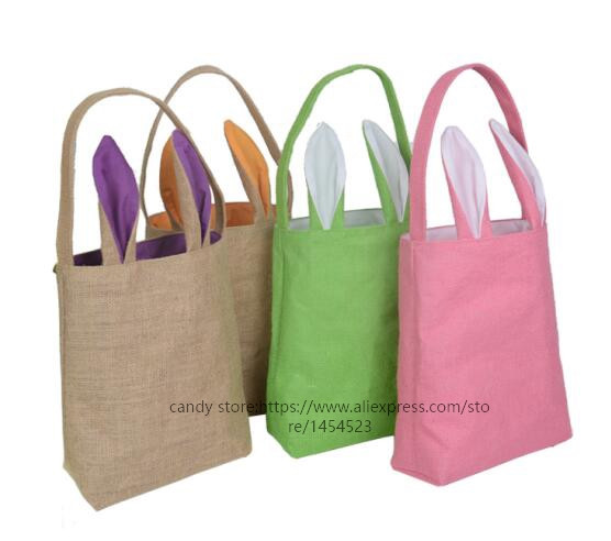 200pcs wholesale easter bunny gifts bag diy rabbit ears burlap 200pcs wholesale easter bunny gifts bag diy rabbit ears burlap jute basket blank bags for kids mix 14 color party decoration in party favors from home negle Images