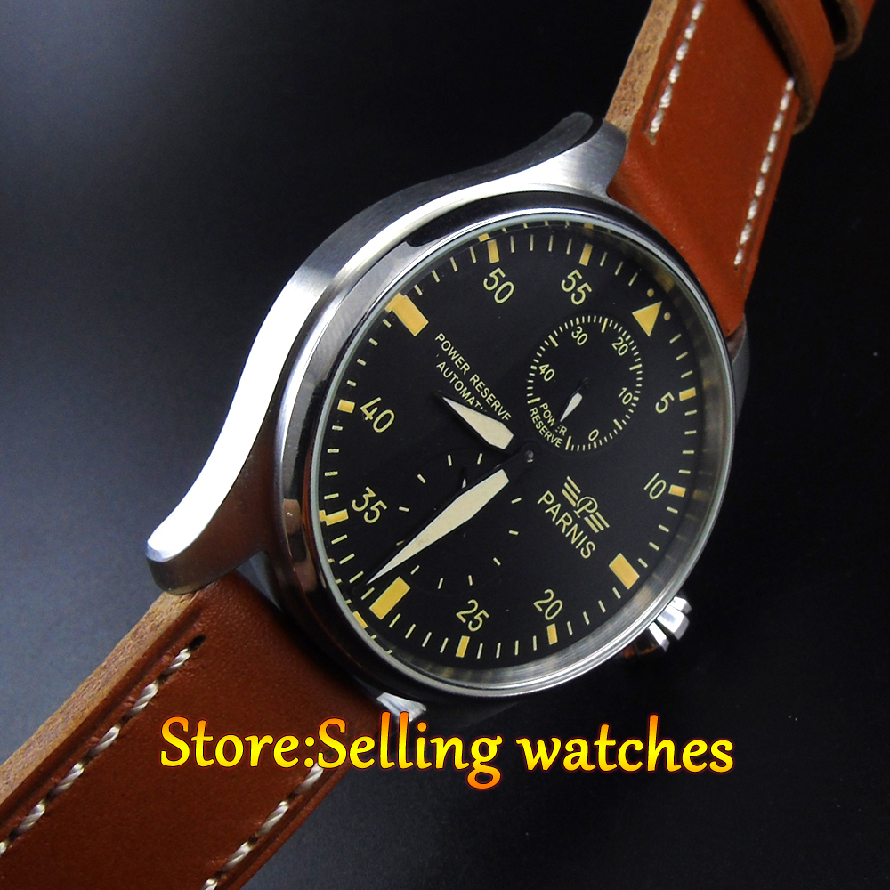 Parnis 47mm Power Reserve stainless steel Case Leather Analog Automatic mechanical  Mens Watch power reserve 1x