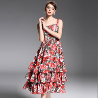 2017 Newest Summer Fashion Designer Runway Dress Women's Spaghetti Strap Sexy Tiered Red Rose Floral Printed Mid Calf Dress