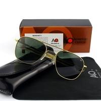 Pilot Sunglasses Men Tempered Glass Lens Top Quality Brand Designer AO Sun Glasses Male American Army Military Optical TJ113