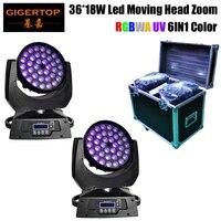Dj Equipment RGBWA+UV 36*18W DMX Zoom Wash Moving Head Light,Promotional High Power Disco Light 6IN1 Club Light Factory Made