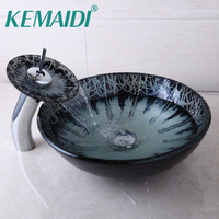 KEMAIDI Modern Bathroom Novel Glass Basin Sinks Waterfall Chrome Faucet Bathroom Deck Mounted Sinks Faucet With Pop Up Drain