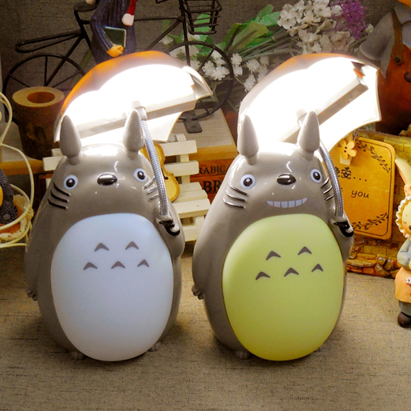 Creative Cartoon Umbrella Style Totoro Night Light LED Bedside Nightlights For Children Birthday Gift Room Decor BLACK FRIDAY artpad creative cute cartoon umbrella style totoro night lamp usb port charged led bedroom light for kid boy girl desk lighting