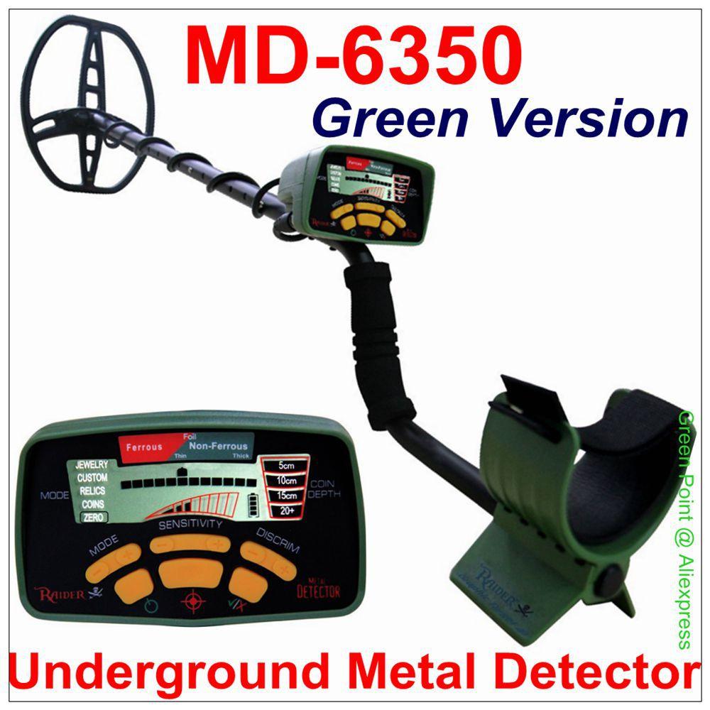 Green Version MD 6350 Underground Metal Detector MD6350 Gold Digger Treasure Hunter MD6250 Updated Version Green