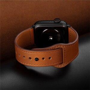 Image 3 - Correa de cuero genuino marrón correa de bucle para Apple Watch 4 3 2 1 38mm 40mm , VIOTOO hombres correa de reloj de cuero para iwatch 4 44mm