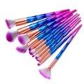 Envío Gratis 2017 Nuevo de Alta Calidad 12 UNIDS Pinceles de Maquillaje Polvos Base maquillaje Diamond Rainbow Kit de Maquillaje Cepillo Cepillo de Cejas herramienta