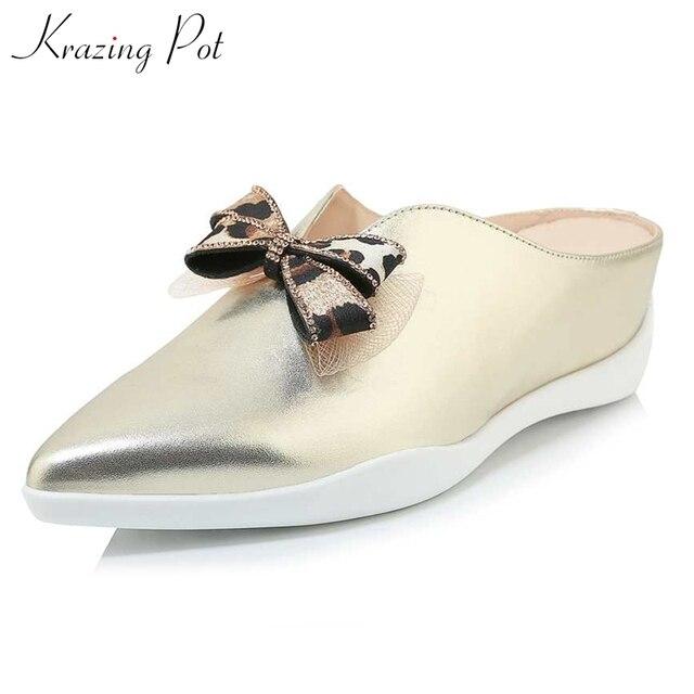 Krazing Pote couro genuíno dedo apontado deslizamento de verão em prendedores de tênis leopardo gravata borboleta do vintage chique cozy calçados vulcanizados L96