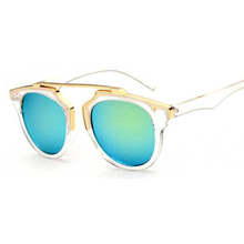 2015 cat eye sunglasses round metal frame reflective mirror glasses for men and
