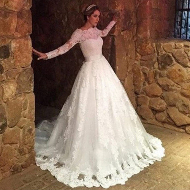 8a855c2fa Vintage Ivory Lace Wedding Dresses Beautiful Long Sleeve Boat Neck Ball Gown  Bridal Dresses With Ribbon Cheap Wedding Gowns PG60