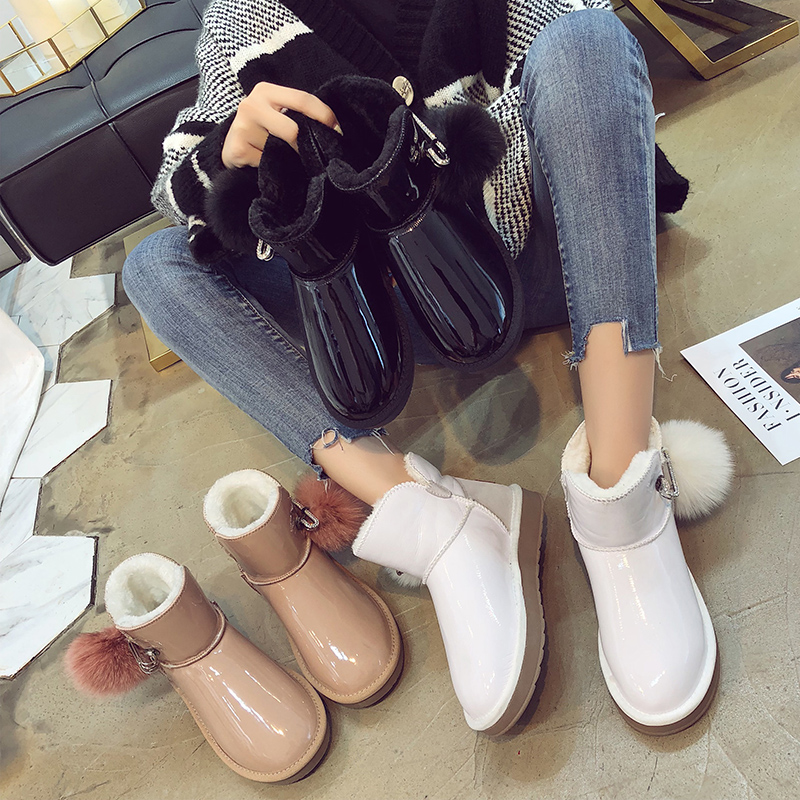 Warm Fur Women Snow Boots Patent Leather Winter Shoes Fur Ball Ankle Boots Female Fashion White Pink Snow Boots 2018 New Design trendy color block and faux fur design women s snow boots