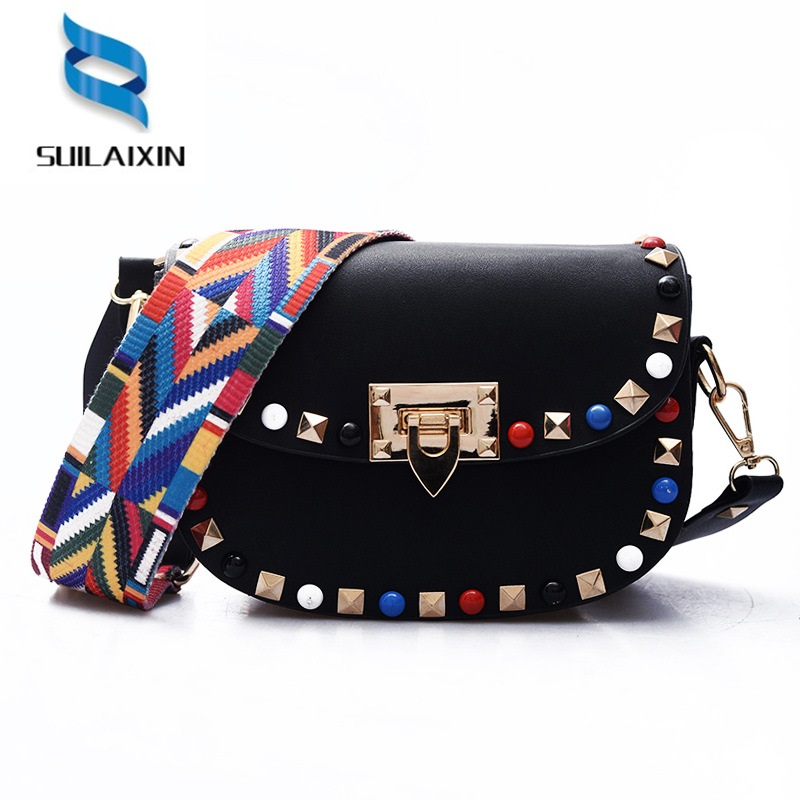 Women Saddle Shoulder Bag Fashion Colorful Rivet Small Black Crossbody Messenger Bags Color Straps Wide Handbags High Quality