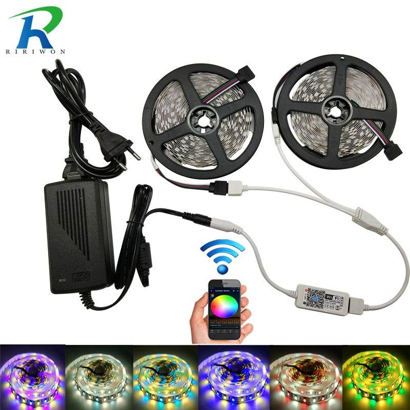 5m/Roll 10m 5050 LED Strip light DC12V RGBW RGBWW Holiday Decoration WiFi controller LED String Ribbon No-Waterproof Strip Set