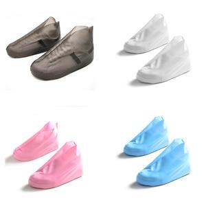 Image 1 - أحذية مضادة للماء غطاء قابلة لإعادة الاستخدام أحذية المطر يغطي TPU زلة مقاومة حذاء ذو رقبة (بوت) للمطر الرجال النساء أحذية غطاء للمطر
