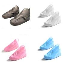 Chaussures imperméables couvrent les chaussures de pluie réutilisables couvre la botte de pluie antidérapante de TPU hommes femmes chaussures couverture de pluie