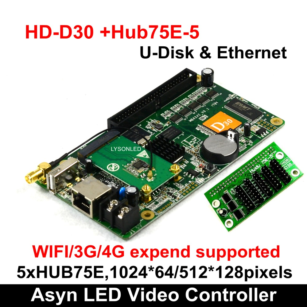 Huidu HD D30 WIFI HUB75E 5 RGB LED Video Card 512 128 pixels Smart Setting Compatiable