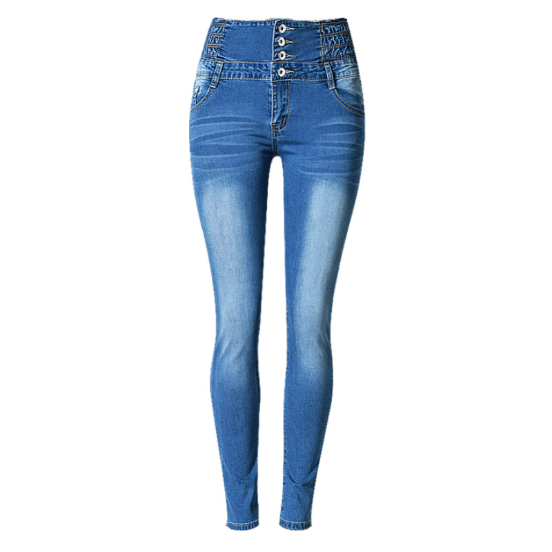 High Waist Europe Skinny Jeans Women Fashion Elasticity Pleated Washed Vintage Jeans Mujer Bleached Push Up Blue Trousers Femme
