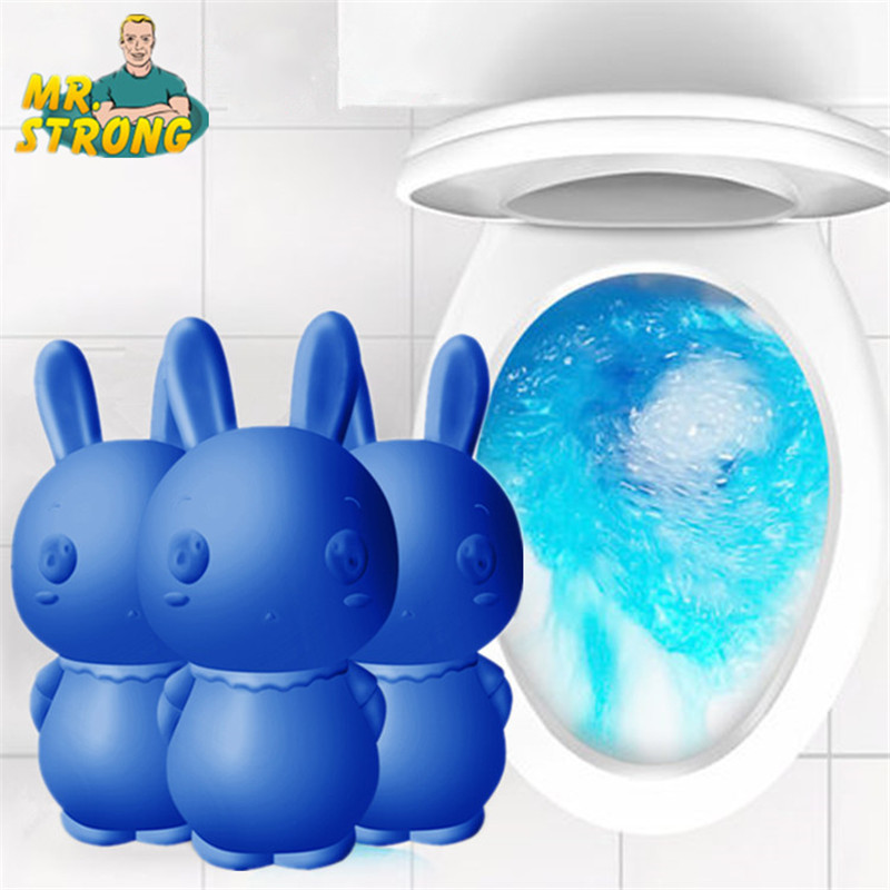 Cute Blue Rabbit Toilet Cleaner Magic Automatic Flush Toilet Cleaner Helper Blue Bubble Cleaning Deodorizes Bathroom 65 Days Use|Toilet Cleaner| |  - title=
