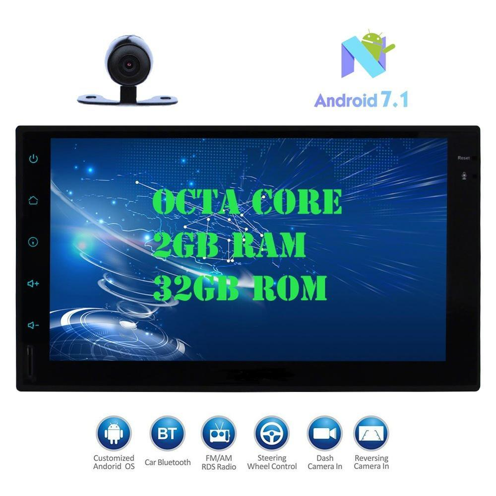 Android 7.1 Car Pad Tablet PC Radio Stereo Octa core 2GB+32GB Autoradio 2Din Auto GPS In Dash 7 Multimedia Player+Backup Camera
