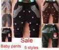 Calças infantil calças de algodão listrado e padrão masculino crianças