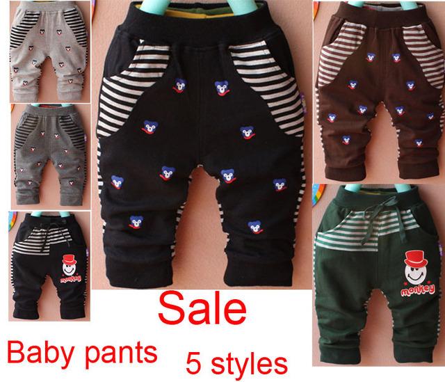 Envío gratis 2 unids/lote los pantalones infantiles rayados y patrón de la historieta del algodón de los pantalones masculinos niños ropa informal para mujer