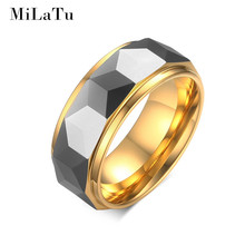 MiLaTu 8mm Rhombus Cut Men's Tungsten Ring Gold Plated Wedding Band Multi-faceted Dome Tungsten Carbide Men Jewelry R492G