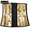 Ouro metálico Mulheres Treino Cincher Cintura Espartilho Do Látex