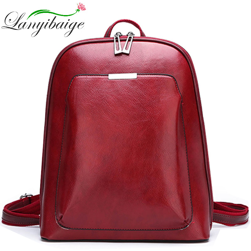 2019 Women Leather Backpacks For Girls Sac a Dos School Backpack Female Travel Shoulder Bagpack Ladies Casual Daypacks MochilasBackpacks   -