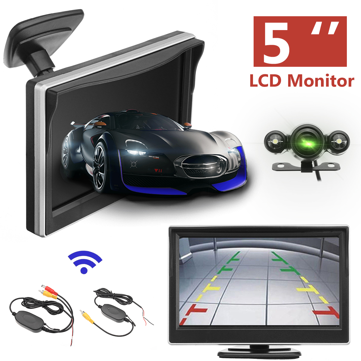 5 inch 720P Wireless Car Parking Reversing Camera LCD Monitor IR Night Vision Truck Rear View Tailer Backup Camera Waterproof ir led car rear view ip network camera 720p backup reversing parking rearview cam night vision waterproof for truck bus page 1