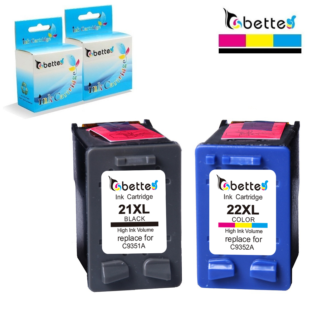 Bette Ink <font><b>Cartridge</b></font> Replacement for <font><b>HP</b></font> <font><b>21</b></font> <font><b>22</b></font> 21XL 22XL DeskJet 3915 3918 3920 3930 3938 3940 D1500 D2300 F2100 F2280 F4100 F4180 image